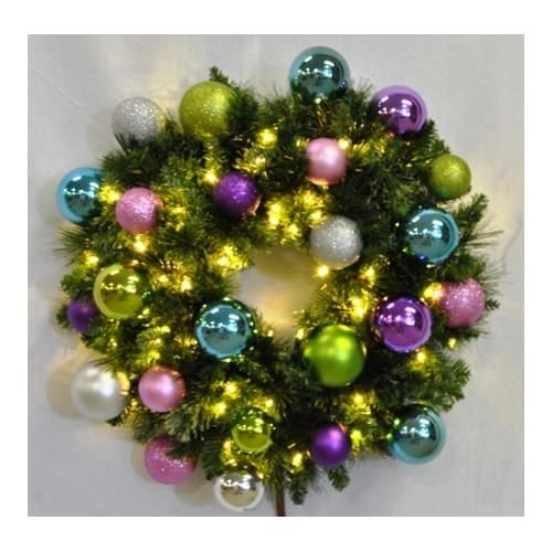 Christmas at Winterland WL-GWSQ-05-VIC-LWW 5 Foot Pre-Lit Warm White Sequoia Wreath Decorated with Victorian Ornaments Indoor /