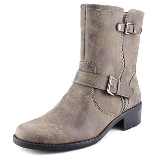Anne Klein Leeder Women Round Toe Synthetic Tan Ankle Boot