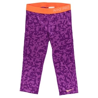 Nike Girls Allover Print Capris Purple - Purple/Orange - md (10-12 big kids)