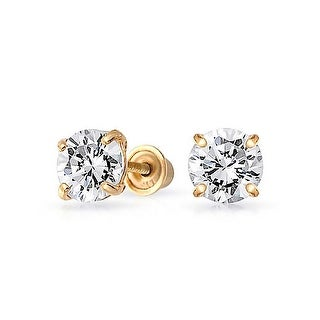 Bling Jewelry Kids CZ Square Saftey Screw Back Stud earrings 14k Gold 3mm - White