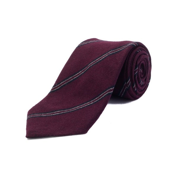 d4c60555 Ermenegildo Zegna Men's Cashmere Striped Tie Burgundy - no size