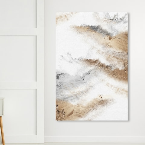 Oliver Gal 'Brianna Majestic' Abstract Wall Art Canvas Print Brush Strokes- White, Gray