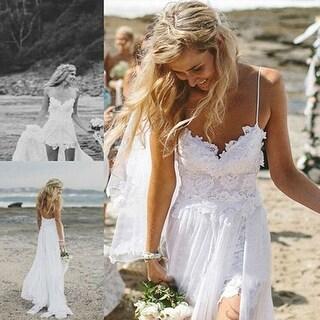 Hot Women Lace Spaghetti Strap Gauze Maxi Long Dress Evening Party Wedding Gown