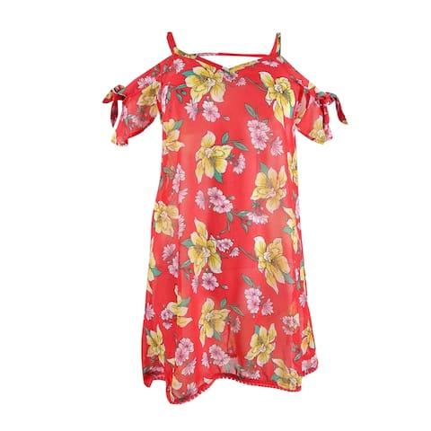 Miken Women's Plus Size Printed Cold-Shoulder Dress Swim Cover-Up - Poppy Red Citrus