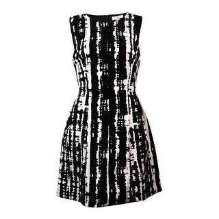 Calvin Klein Women's Sleeveless Velvet Print Fit & Flare Dress