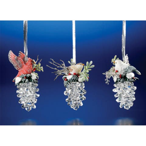 """Club Pack of 12 Icy Crystal Christmas Birds on Pinecones Ornaments 3.5"""""""