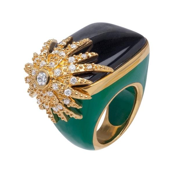 Cristina Sabatini Starburst Ring in 14K Gold-Plated Sterling Silver - Black