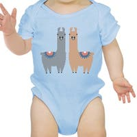 Llama Pattern Infant Bodysuit Gift Sky Blue