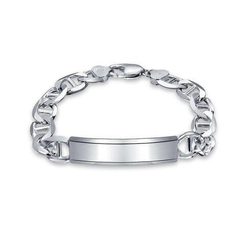 Mariner Anchor Link ID Bracelet Engravable Solid Heavy Sterling Silver
