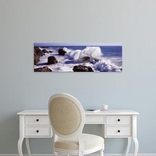 Easy Art Prints Panoramic Image 'Waves breaking on the coast, Santa Cruz, Santa Cruz County, California' Canvas Art