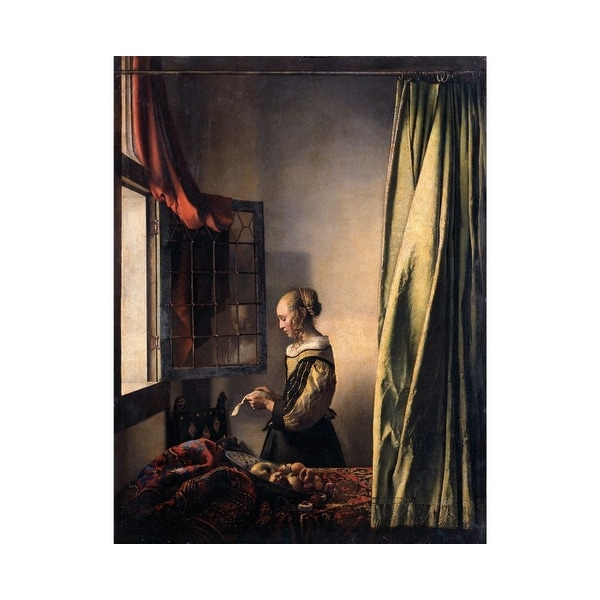 Easy Art Prints Johannes Vermeer's 'Girl Reading a Letter by an Open Window' Premium Canvas Art