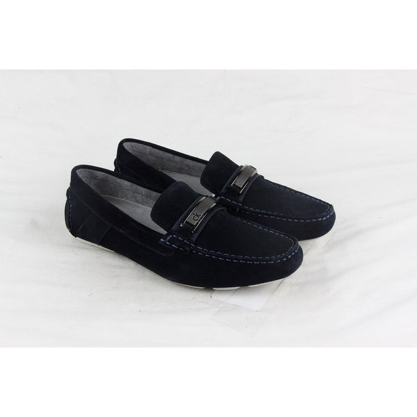 Calvin Klein Marcel Mens Blue Suede Casual Dress Slip On Loafers Shoes