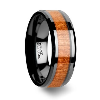Thorsten Black Ceramic Wedding Ring with Polished Bevels and Black Cherry Wood Inlay - 8mm IOWA