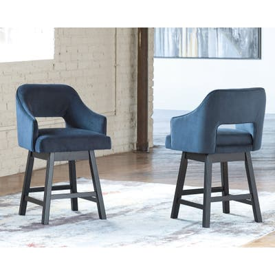 Tallenger Blue/Dark Brown Upholstered Swivel Barstool - Set of 2