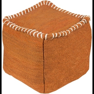 "18"" Rust Orange and Beige Stitched Top Jute Square Pouf Ottoman"
