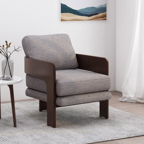 Firethorn Mid-Century Modern Fabric Bentwood Accent Chair by Christopher Knight Home