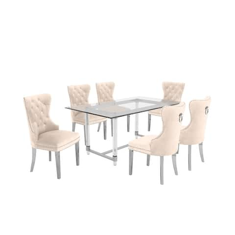 Best Quality Furniture 7-Piece Dining Set with Nail-head Trim and Button-Tufted Dining Chairs