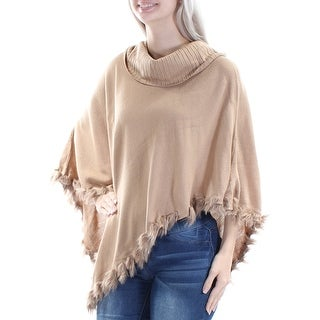 Womens Beige 3/4 Sleeve Cowl Neck Casual PONCHO Top Size S