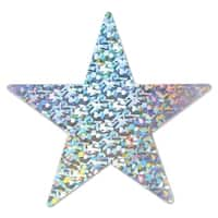 Club Pack of 72 Silver Prismatic Foil Star Party Cutout Decorations 5""