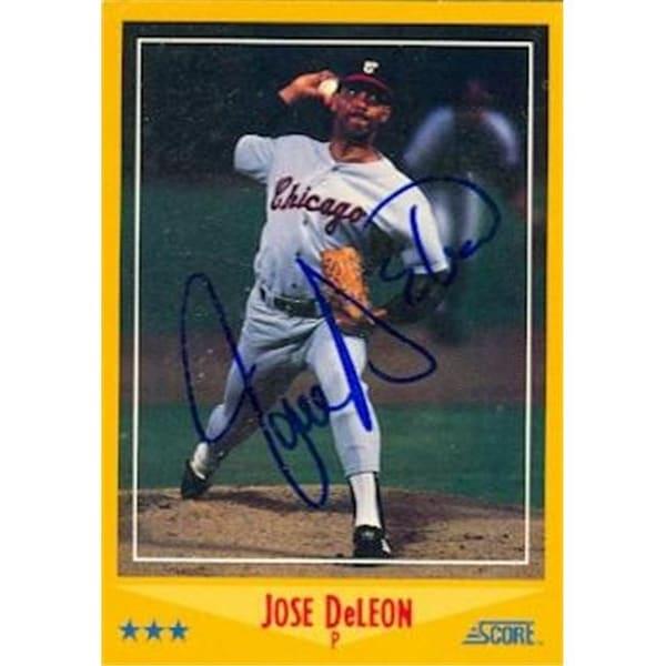 Jose Deleon Autographed Baseball Card Chicago White Sox 1988 Score