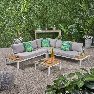 Link to Eldon Outdoor V-Shaped Aluminum and Wood Sofa Set by Christopher Knight Home Similar Items in Outdoor Sofas, Chairs & Sectionals