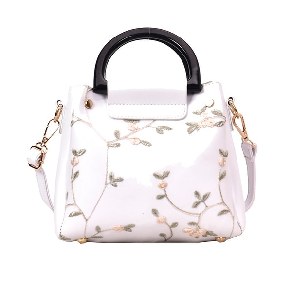 6e38cc35c6ea Shop QZUnique Women's PU Leather Tote Bag Floral Printed Lace ...