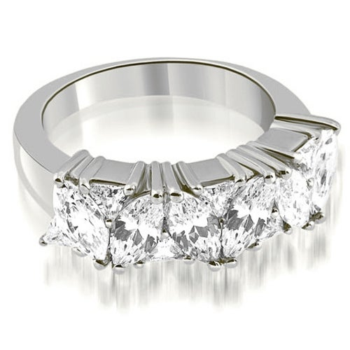 2.60 cttw. 14K White Gold Marquise Round and Trillion Cut Diamond Wedding Band