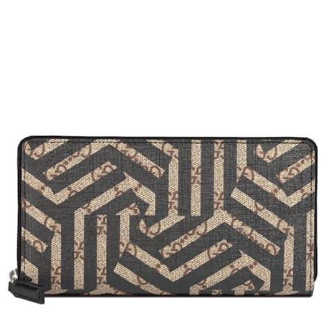 Gucci GG Supreme Caleido Bar Brown Black Zipper Wallet 411766 - M