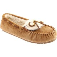 Clarks Women's Folded Vamp Moccasin Slipper Cinnamon Cow Suede