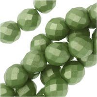 Czech Fire Polished Glass, Faceted Round Beads 8mm, 19 Pieces, Pastel Olivine