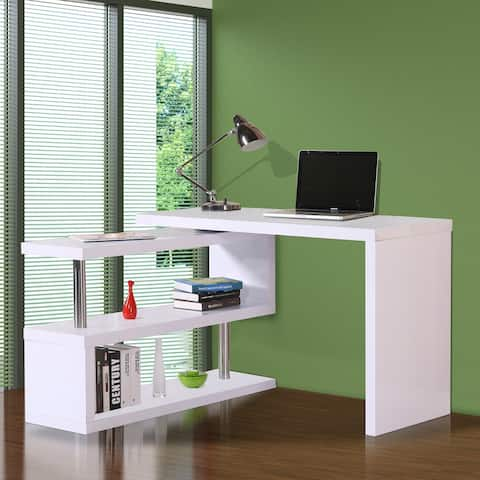 "HOMCOM 75"" Modern Corner Rotating Combo L-Shaped Computer Desk With 2 Storage Shelves - White"