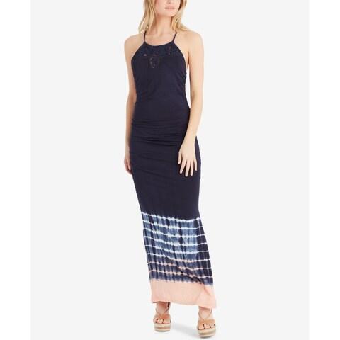 Jessica Simpson Blue Women's Size Medium M Macrame-Neck Maxi Dress