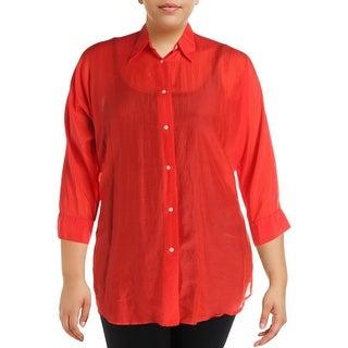 Lauren Ralph Lauren Womens Plus Button-Down Top Silk Blend Collar