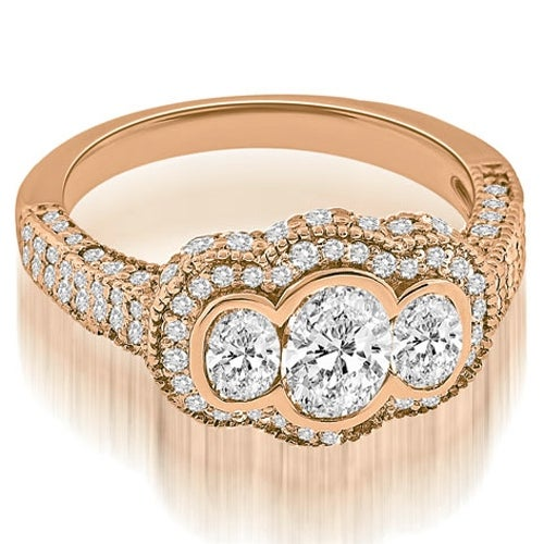 2.00 cttw. 14K Rose Gold Antique Halo Three Stone Oval Diamond Engagement Ring