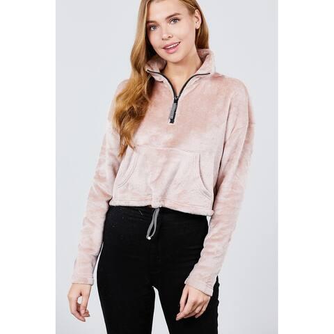 Cali Chic Women's Sweatshirt Hoodies Celebrity Dolman Super Soft Fleece Mock Neck Zipper Pullover