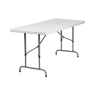 Offex 30''W x 72''L Height Adjustable Granite White Plastic Folding Table [OF-RB-3072ADJ-GG]