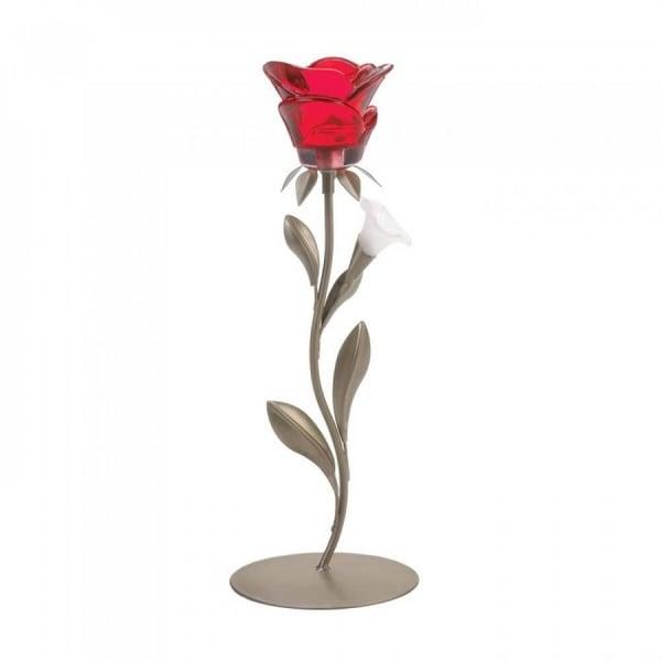 Romantic Single Red Rose Candleholder