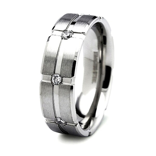 Satin Finished Stainless Steel Ring with 8 CZs 7mm (Sizes 8-13)