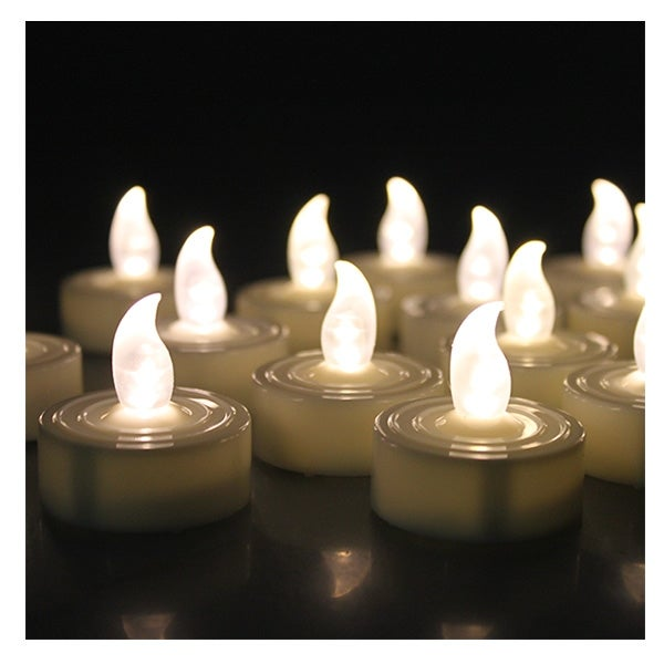 AGPtek 60 PCS Battery Operated Flameless LED Tealights Candles - Warm white - SIZE