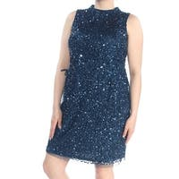 ADRIANNA PAPELL Womens Navy Sequin Lace Up Mock Neck Sleeveless Above The Knee Sheath Party Dress  Size: 16