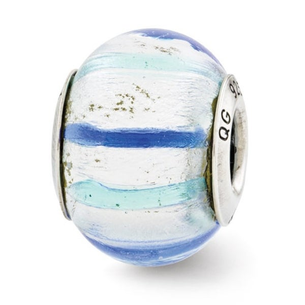 Italian Sterling Silver Reflections Teal/Blue/White Murano Glass Bead (4mm Diameter Hole)