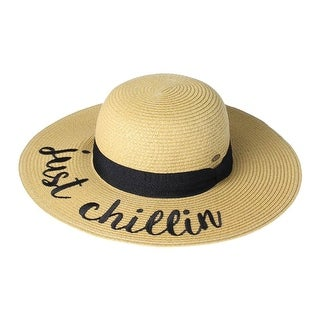 Women's Embroidered Straw Hats - Summer Gardening Wide Band - Just Chillin - Medium