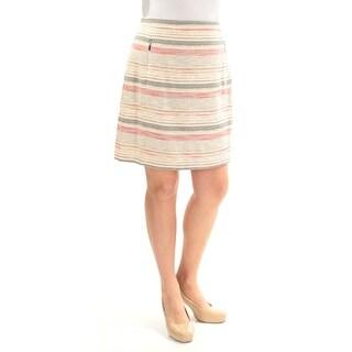 TAHARI $79 Womens New 1070 Beige Black Striped A-Line Skirt 14 B+B