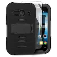 Insten Dual Layer Hybrid Stand Rubber Silicone/ PC Case Cover w/ Screen Protector For Alcatel One Touch Evolve 2