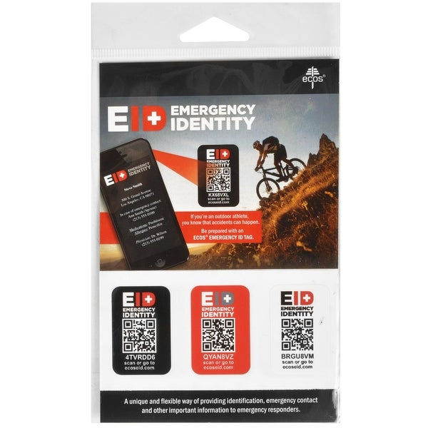 ECOS Emergency QR Code Identity Stickers - 3-Pack - Black - One size