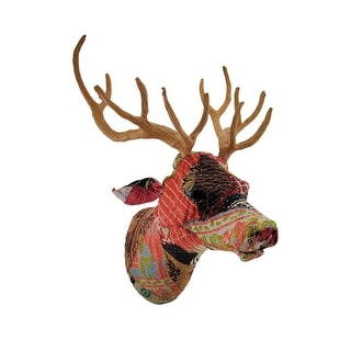 Recycled Indian Sari Fabric Covered Deer Head Wall Mount Bust
