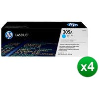 HP 305A Cyan Original LaserJet Toner Cartridge (CE411A)(4-Pack)