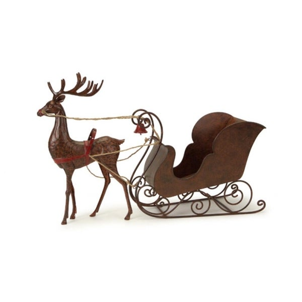"30.25"" Red and Brown Rustic Hammered Metal Deer with Sleigh Table Top Christmas Decoration"