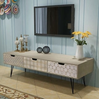 "vidaXL TV Cabinet with 3 Drawers 47.2""x15.7""x14.2"" Gray"
