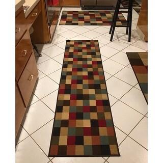 "Ottomanson Ottohome Collection Checkered Design Area Rug - 1'10"" x 7'"